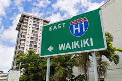 Sign towards Waikiki Beach Stock Image