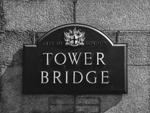 Sign of Tower Bridge Royalty Free Stock Image