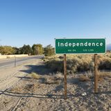 Sign for town named Independence. Stock Photo
