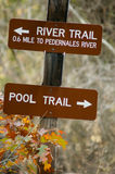 Sign. Trail signs marked river trail and pool trail Royalty Free Stock Photography