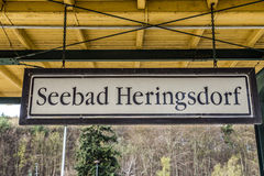 Sign at the train station Seebad Heringsdorf Stock Photography