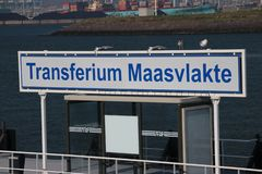 Sign of Transferium for waterbus in the Maasvlakte harbor in Rotterdam the Netherlands,. Transferium for waterbus in the Maasvlakte harbor in Rotterdam the royalty free stock images