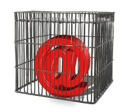 At sign trapped in a cage Royalty Free Stock Image
