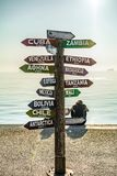 Sign of travel destinations with kilometers of distance Royalty Free Stock Image
