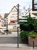 Sign with travel distance to cities in Colmar city Stock Image