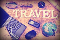 Sign Travel, Laptop, Mouse, Globe, Compass, GSM Phone, Letter, M Stock Images
