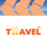 Sign of travel with woman  Royalty Free Stock Photos