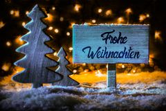 Sign, Tree, Calligraphy Frohe Weihnachten Means Merry Christmas, Snow stock image