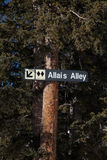 Allais Alley Ski Run Sign. Sign on tree points the way to the double black diamond run of Allais Alley Stock Photography