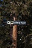 Allais Alley Ski Run Sign. Sign on tree points the way to the double black diamond run of Allais Alley stock photography