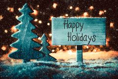 Sign, Tree, Snow, Calligraphy Happy Holidays, Snowflakes stock image