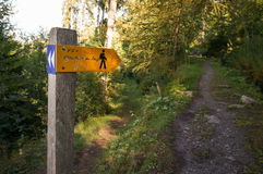 Sign at trekking trail. Royalty Free Stock Images