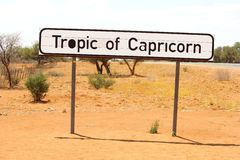 Sign Tropic of Capricorn, Nambia Royalty Free Stock Images