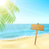 Sign on tropical beach Royalty Free Stock Image