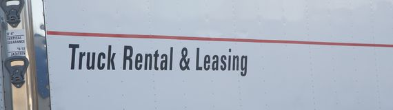 Sign on a Truck Rental and Leasing Van Royalty Free Stock Photo