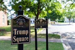 Sign for Trump Square at the Trump National Golf Club Charlotte