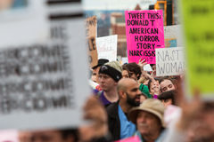 Sign About Trump Tweeting Stands Out At Atlanta Protest March Royalty Free Stock Images