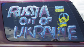 Sign at the Ukraine supporter car in Brooklyn Royalty Free Stock Photography