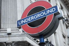 Sign of underground transit system in London, UK stock images
