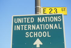 A sign for the United Nations International School Royalty Free Stock Image