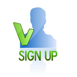 Sign up become a member icon. Illustration with small blank avatar and sign up text Stock Images