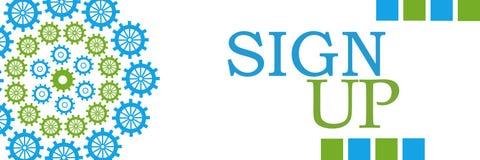 Sign Up Blue Circular Gears Horizontal Stock Photography
