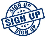 Sign up round grunge stamp. Sign up blue round grunge stamp Stock Image