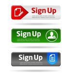 Sign up button collection Stock Photos