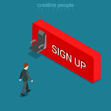 Sign up button man seat flat isometric vector 3d. Sign up button flat 3d isometry isometric concept web vector illustration. Big empty seat on wall and man Stock Images