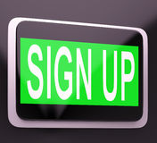Sign Up Button Showing Website Joining Stock Photo
