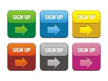 Sign up buttons Stock Photos