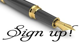 Sign up card. Sign us card. Sign us handwritten with fountain pen Stock Photo