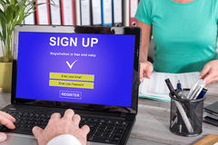 Sign up concept on a laptop. Laptop screen with sign up concept royalty free stock photography
