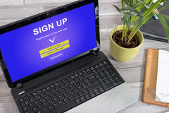 Sign up concept on a laptop. Laptop screen with sign up concept stock photo