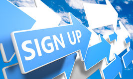 Sign up. 3d render concept with blue and white arrows flying in a blue sky with clouds Stock Photos