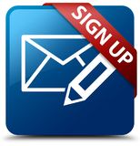 Sign up (edit mail icon) blue square button red ribbon in corner Stock Photography