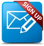 Sign up (edit mail icon) cyan blue square button red ribbon in c Stock Photos