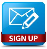 Sign up (edit mail icon) cyan blue square button red ribbon in m Stock Photo