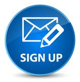 Sign up (edit mail icon) elegant blue round button Stock Photo
