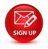 Sign up (edit mail icon) glassy red round button Royalty Free Stock Photos