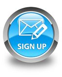 Sign up (edit mail icon) glossy cyan blue round button Royalty Free Stock Photography