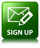 Sign up (edit mail icon) green square button. Sign up (edit mail icon) isolated on green square button reflected abstract illustration Stock Photos