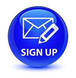 Sign up (edit mail icon) glassy blue round button Stock Images