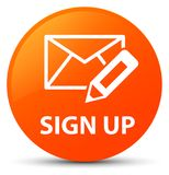 Sign up (edit mail icon) orange round button Royalty Free Stock Photography