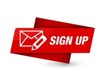 Sign up (edit mail icon) premium red tag sign vector illustration