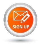 Sign up (edit mail icon) prime orange round button vector illustration