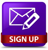 Sign up (edit mail icon) purple square button red ribbon in midd Stock Photography
