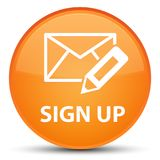Sign up (edit mail icon) special orange round button stock illustration