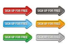 Sign up for free butons - arrow buttons Royalty Free Stock Photos