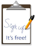 Sign up free clipboard pen website icon Royalty Free Stock Photo